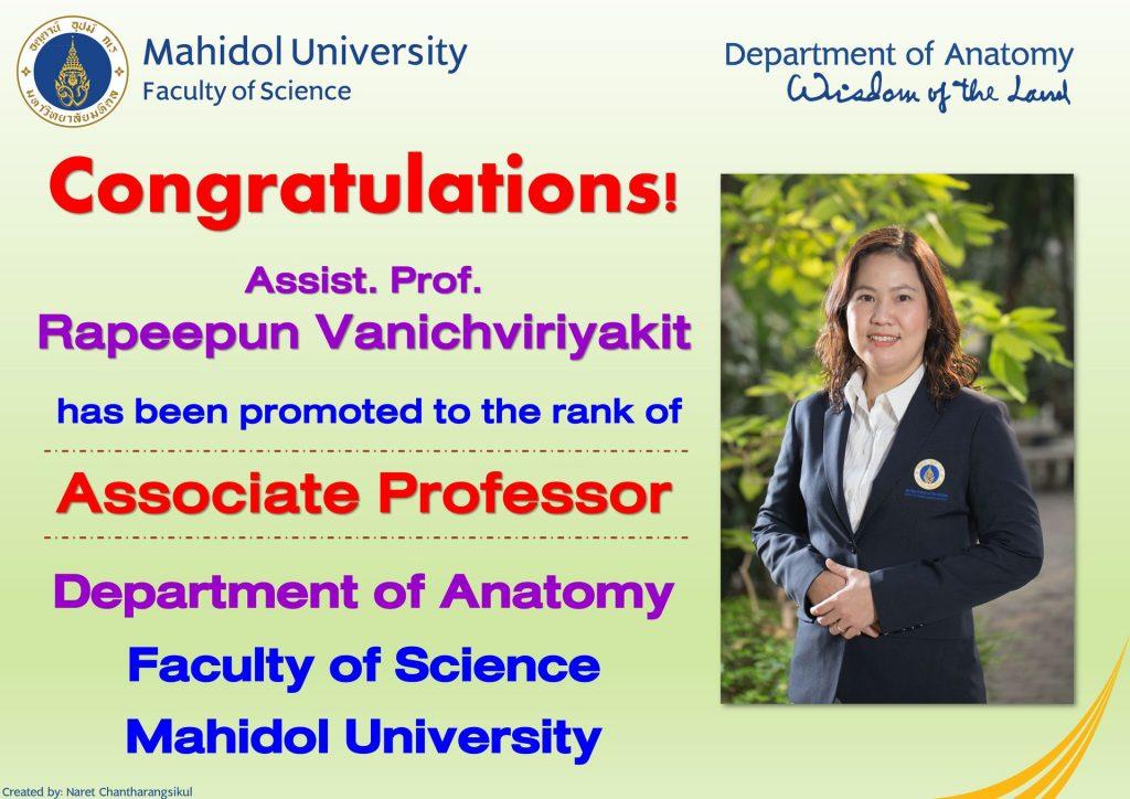 Congratulation! Assoc. Prof. Rapeepun Vanichviriyakit